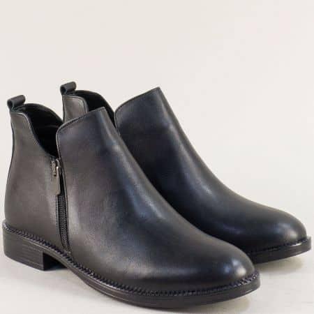 Дамски боти с два ципа от естествена кожа в черен цвят 108491105ch