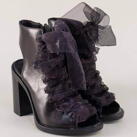 Черни дамски боти на висок ток от естествена кожа  10855ch