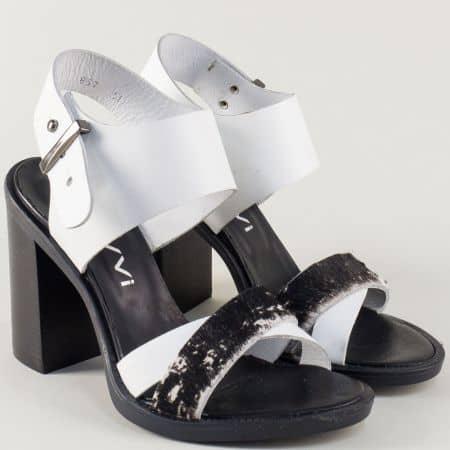 Кожени дамски сандали NAVVI в бяло и черно на висок ток 10857b