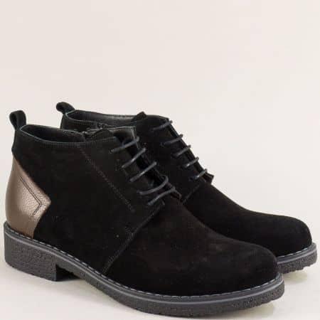 Черни дамски боти от естествен велур, кожа и каучук 10897040vch