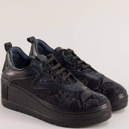 Черни естествена кожа  дамски обувки SISI 10903ch