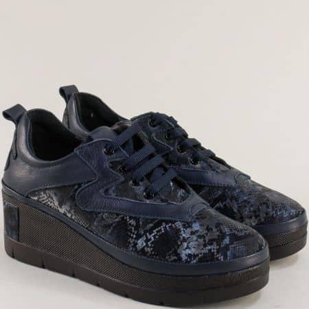 Дамски сини обувки на платформа 10903s