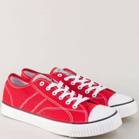 Червени мъжки кецове с връзки на равно, бяло ходило 11-45chv
