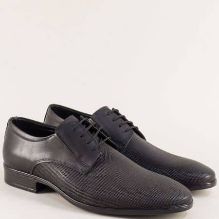 Мъжки обувки в черен цвят с кожена стелка и връзки 1100168ch