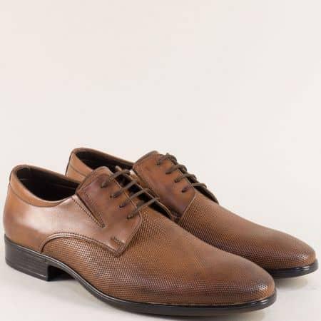 Кожени мъжки обувки с връзки и два ластика в кафяво 1100168k