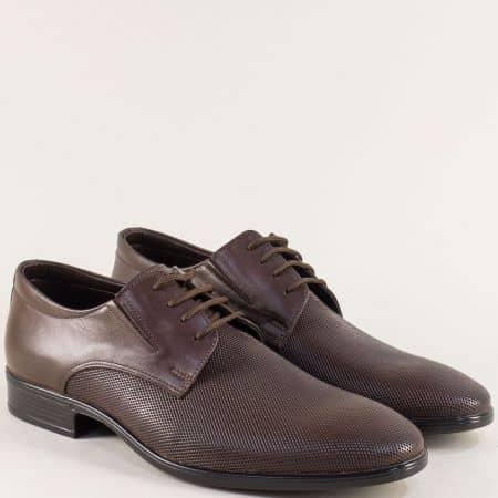 Тъмно кафяви мъжки обувки с връзки от естествена кожа 1100168kk