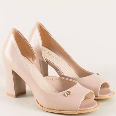 Бежови дамски обувки с отворени пръсти на висок ток- ELIZA 1101091tbj