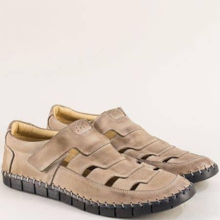 Бежови мъжки обувки с прорези от естествена кожа 1101502bj
