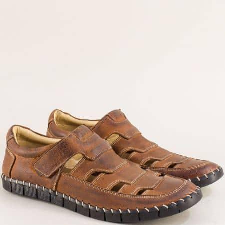 Кожени мъжки обувки с прорези и лепка в кафяво 1101502k