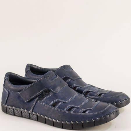 Сини мъжки обувки с прорези от естествена кожа 1101502s