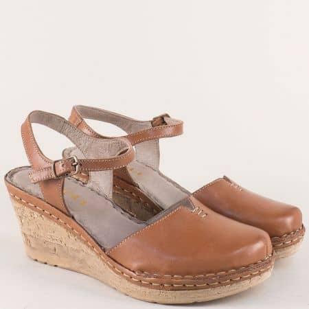 Кафяви дамски сандали на платформа от естествена кожа 1102189k