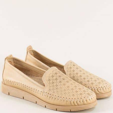 Равни дамски обувки в бежов цвят с кожена стелка 1102bj