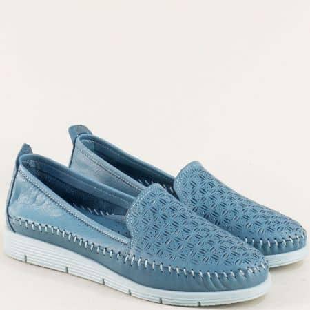 Сини дамски обувки от естествена кожа на бяло ходило 1102s