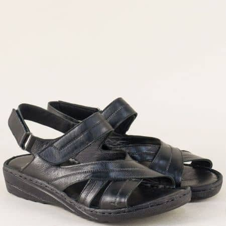 Кожени дамски сандали на равно ходило в черен цвят 110345ch