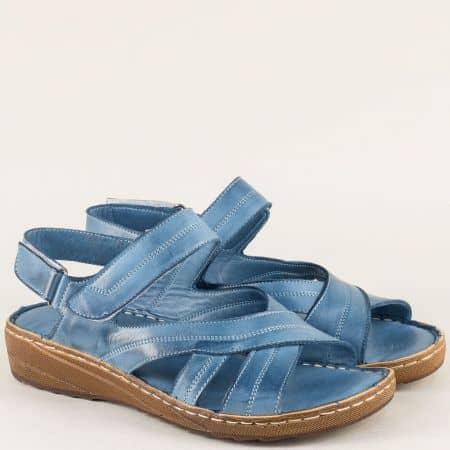 Сини дамски сандали от естествена кожа на равно и комфортно ходило 110345s