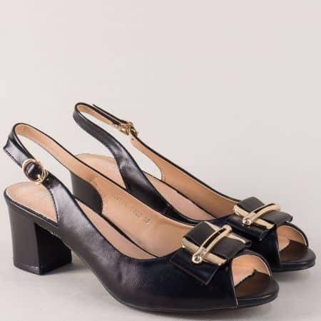 Черни дамски обувки на среден комфортен ток  110622ch