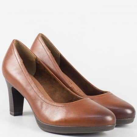 Кафяви дамски обувки Tamaris от естествена кожа на висок ток 1122410k