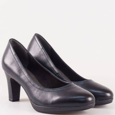 Сини дамски обувки Tamaris от естествена кожа на висок ток  1122410s