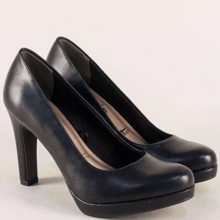 Черни дамски обувки на висок ток и платформа- Tamaris 1122426ch