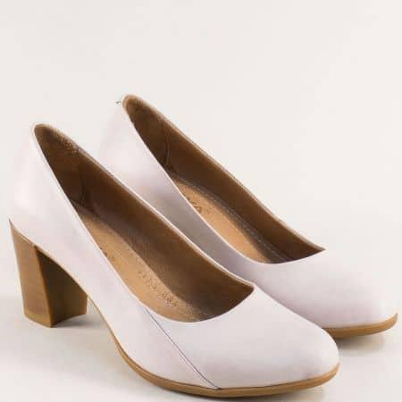 Бежови дамски обувки на висок ток от естествена кожа 1125bj