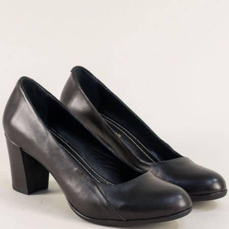 Кожени дамски обувки на висок ток в черен цвят 1125ch