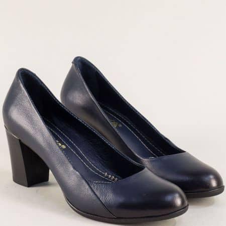 Тъмно сини дамски обувки на висок ток с кожена стелка 1125s