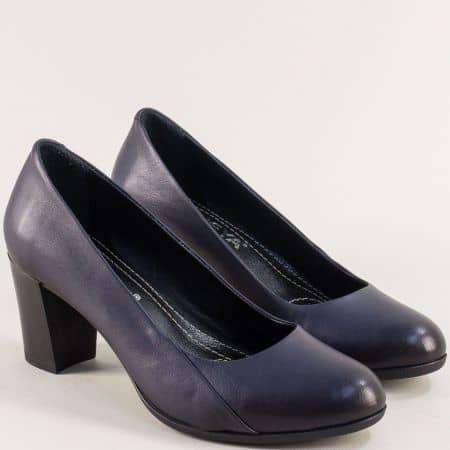 Сини дамски обувки на висок ток с кожена стелка 1125s1