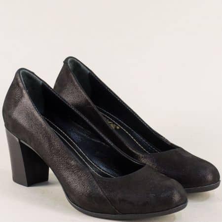 Черни дамски обувки от сатен и естествена кожа на ток 1125sch