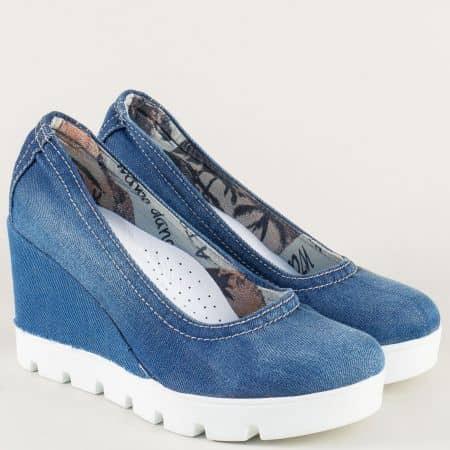Сини дамски обувки на платформа с кожена стелка 11275ds1