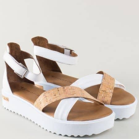 Дамски сандали Tamaris в бяло и кафяво на удобна платформа 1128214b