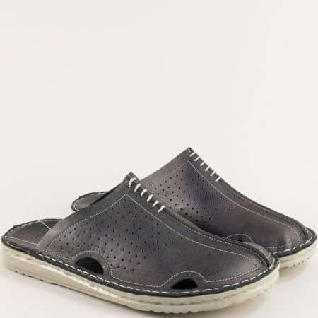 Черни мъжки чехли от естествена кожа с прорези 11318520ch