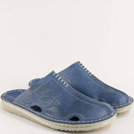 Сини мъжки чехли от естествена кожа с перфорация 11318520s