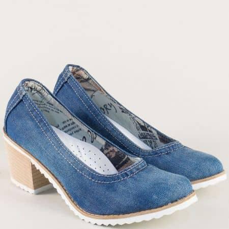 Дамски обувки в син цвят на среден ток 11325ds
