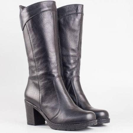 Дамски комфортни ботуши от висококачествена естествена кожа в черен цвят 11470ch