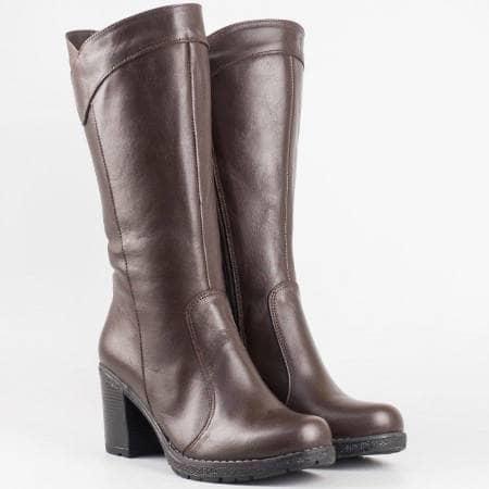 Дамски комфортни ботуши от висококачествена естествена кожа на удобно ходило в кафяв цвят 11470kk