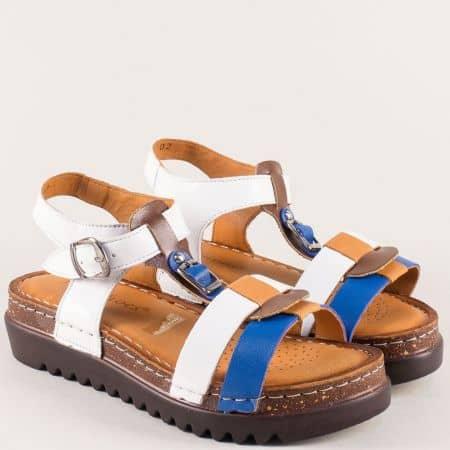 Дамски сандали от естествена кожа в синьо и бяло на платформа 1154bs