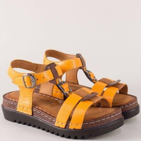 Шити дамски сандали на платформа в оранж 1154j
