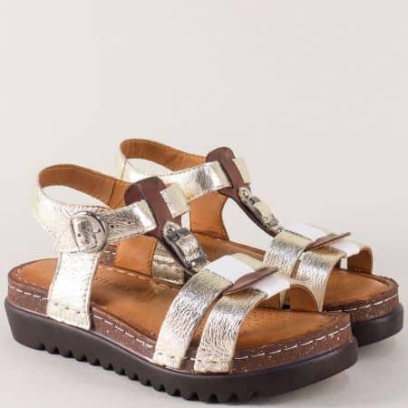 Златисти дамски сандали на платформа от естетвена кожа 1154zl
