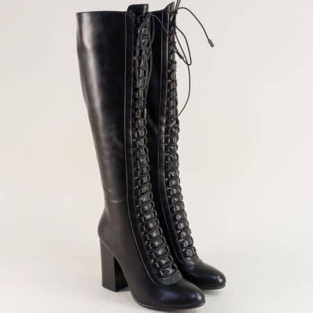 Черни дамски чизми с ластични връзки и висок ток 115775ch