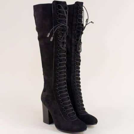 Черни дамски ботуши над коляното с ластични връзки 115775nch