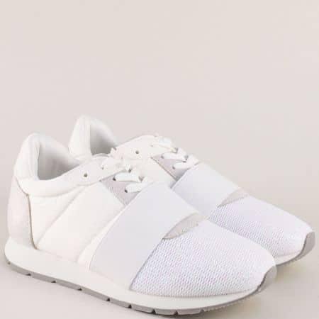 Дамски спорлтни обувки на платформа с връзки в бяло 1161b
