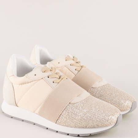 Дамски спортни обувки на платформа в бежов цвят 1161bj