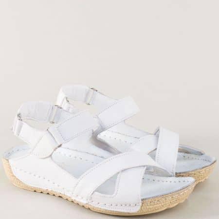 Равни дамски сандали от бяла естествена кожа 116b
