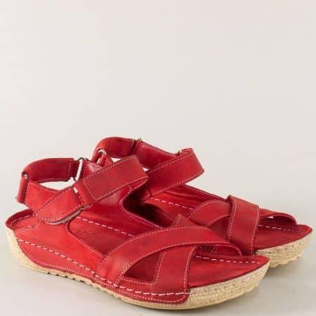 Шити дамски сандали в червен цвят от естествена кожа 116chv