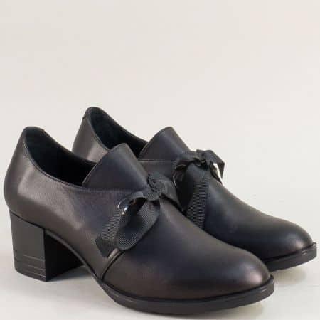 Черни дамски обувки от естествена кожа на среден ток 1172ch