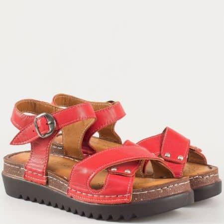 Червени дамски сандали на платформа от естествена кожа изцяло на български производител 1175chv