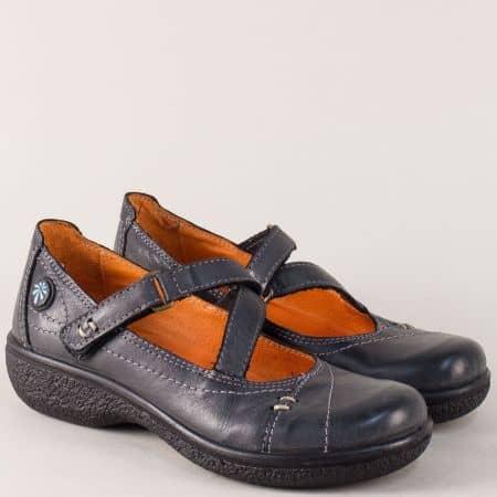 Испански дамски обувки с коланче с лепка в черен цвят 11817ch