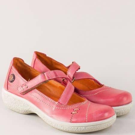 Розови дамски обувки от естествена кожа на платформа 11817chv