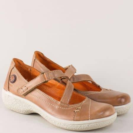 Кафяви дамски обувки на платформа с кожена стелка 11817k