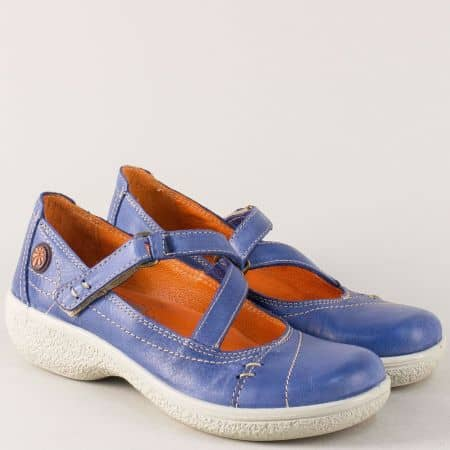 Дамски обувки от естествена кожа в син цвят на стабилна платформа 11817s